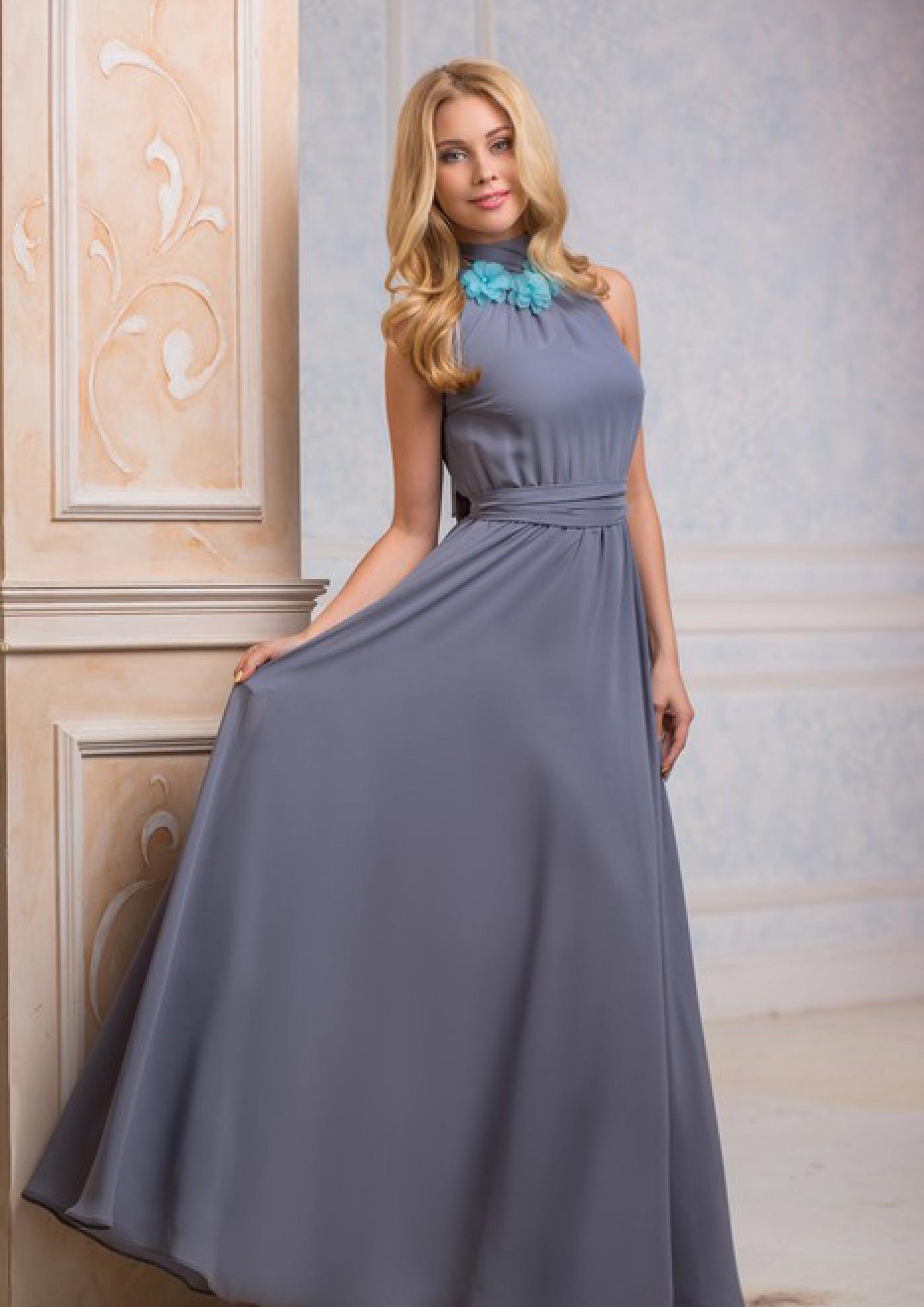 d92730e653c Вечернее длинное платье без рукавов стильного серого цвета. Радэлия интернет-магазин  авторских платьев.