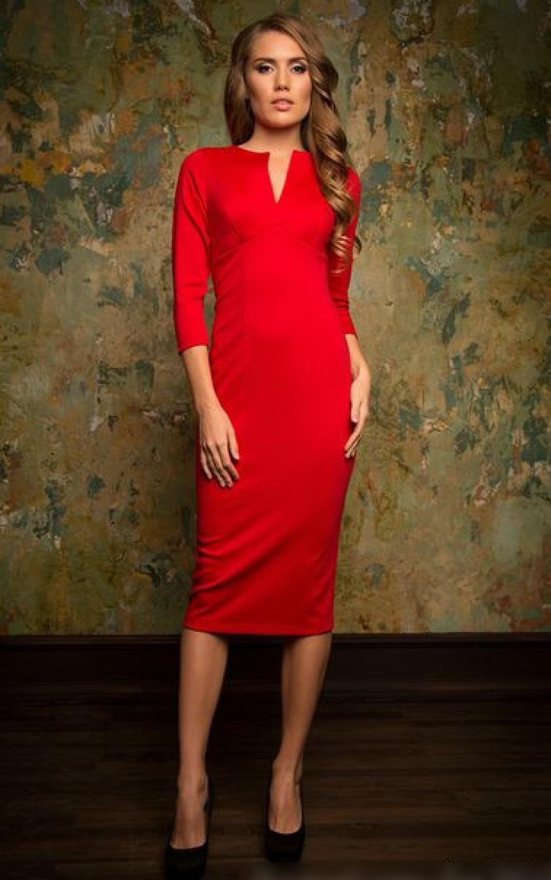486ae93d247 Купить или заказать красное платье футляр для офиса. Заказать пошив  офисного платья.