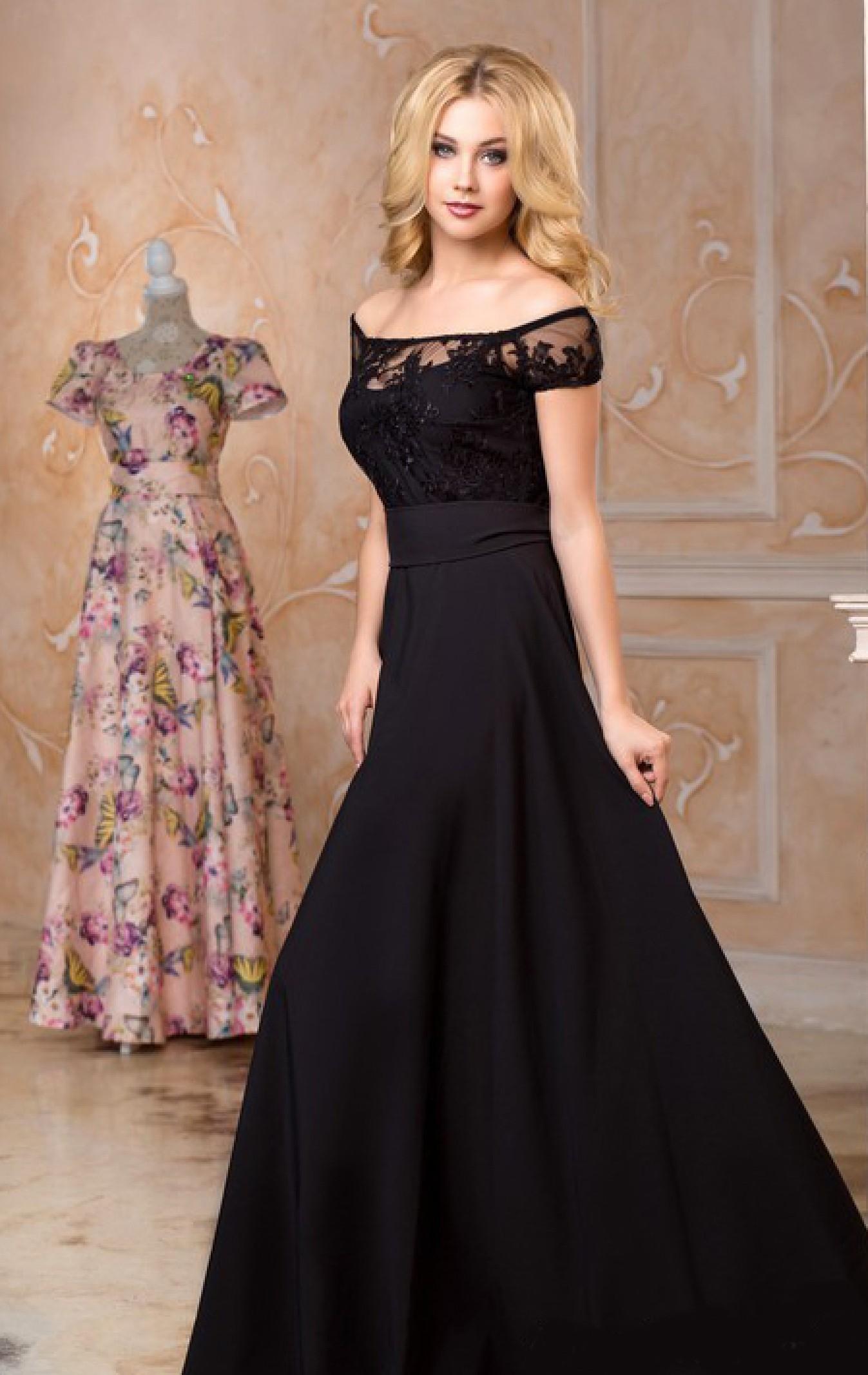 Черное Платье В Пол Купить Вечернее
