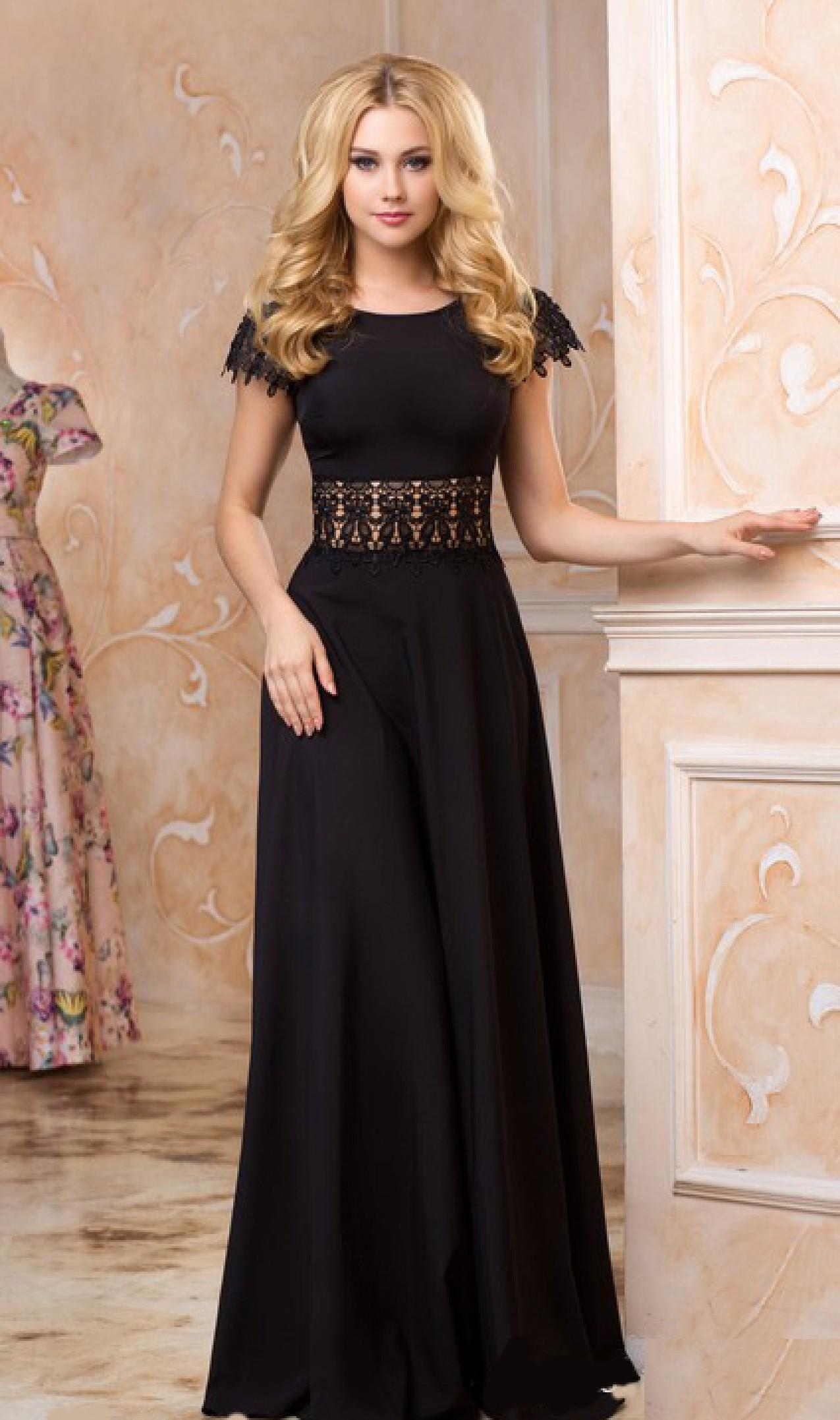 3e5dbe29430 Купить черное вечернее платье в пол. Черное длинное платье в интернет  магазине Радэлия. Пошив платья на заказ.